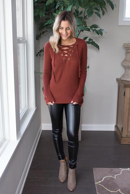 Lace Up Sweater - Rust - FINAL SALE