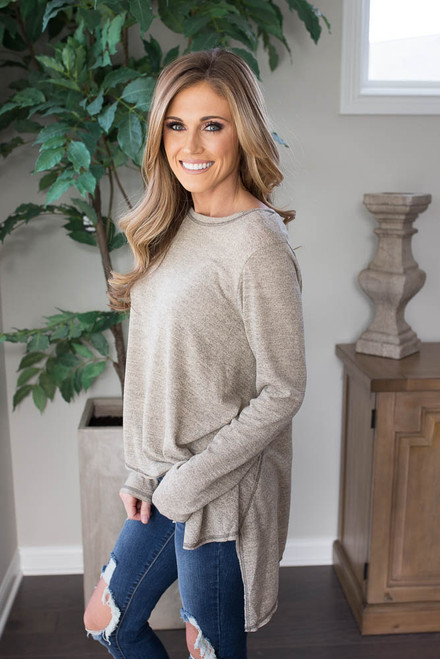 Two Tone Contrast Stitch Top - Taupe - FINAL SALE