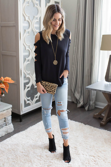 Cutout Twisted Sleeve Thermal Top - Black