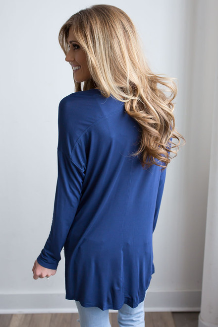 Long Sleeve Side Slit Knit Top - Navy