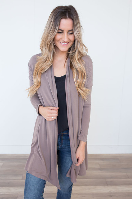 Draped Modal Cardigan - Mocha - FINAL SALE