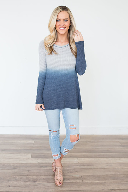 Ombre Thermal Knit Top - Navy - FINAL SALE