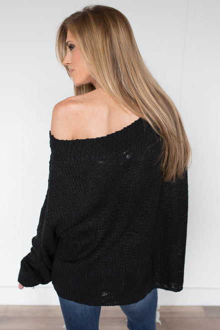 Off the Shoulder Ribbed Sweater - Black