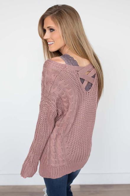 Criss Cross Back Cable Sweater - Mauve - FINAL SALE