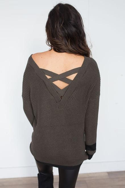 Criss Cross Back Varsity Sweater - Olive - FINAL SALE