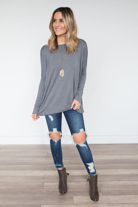 Solid Knit Piko - Heather Grey