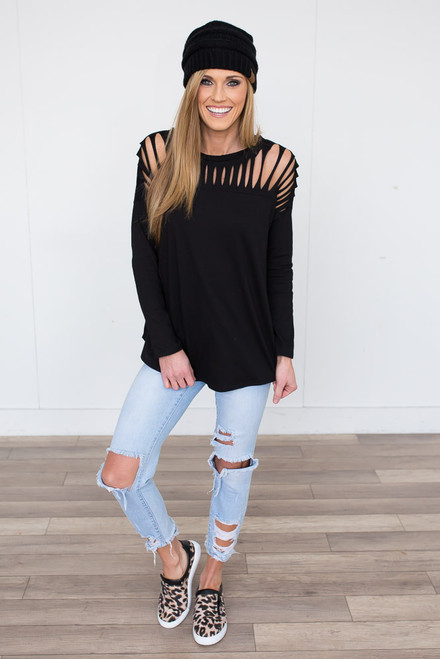 Cutout Detail Top - Black