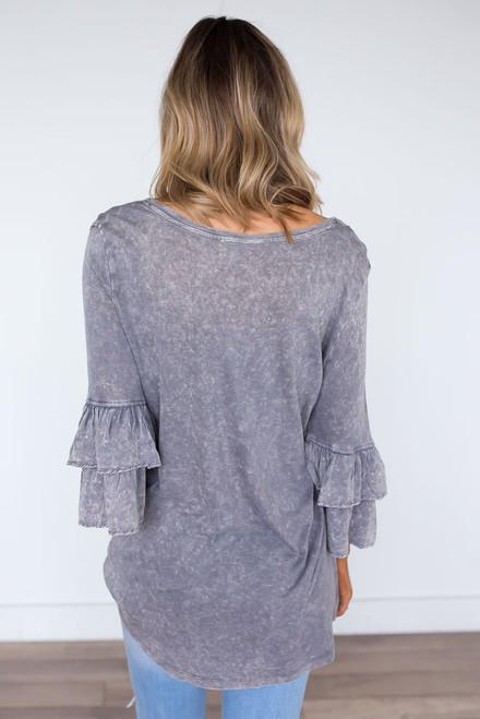 Stone Wash Layered Sleeve Top - Cool Grey