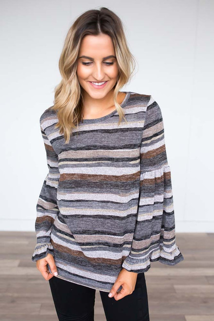 Striped Trumpet Sleeve Top - Charcoal Multi - FINAL SALE