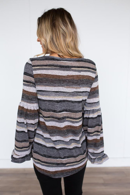 Striped Trumpet Sleeve Top - Charcoal Multi