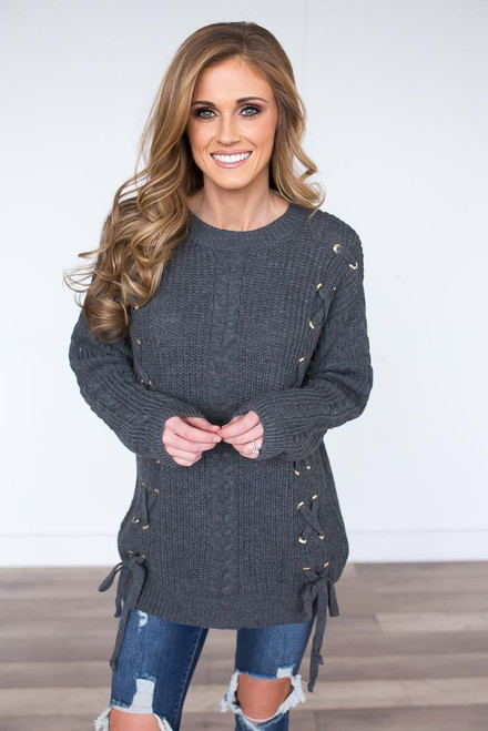 Lace Up Side Sweater - Charcoal