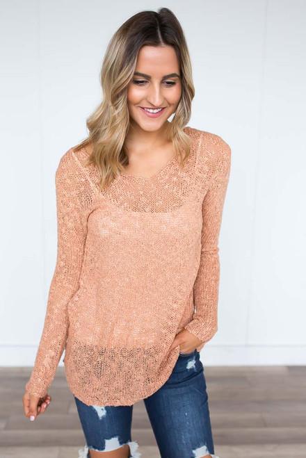 Open Knit Lightweight Sweater - Dusty Coral