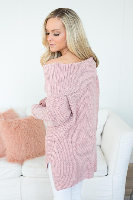 Off the Shoulder Chenille Sweater - Dusty Blush - FINAL SALE