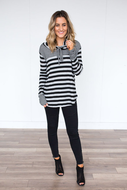 Cowl Neck Striped Sweatshirt - Black/Grey