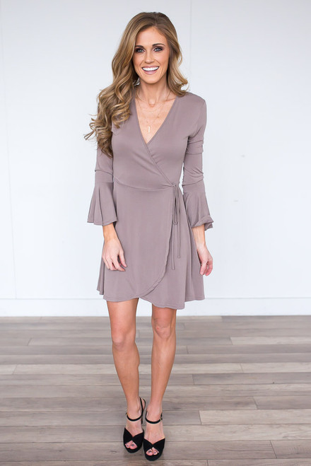 Peplum Sleeve Wrap Dress - Light Mocha
