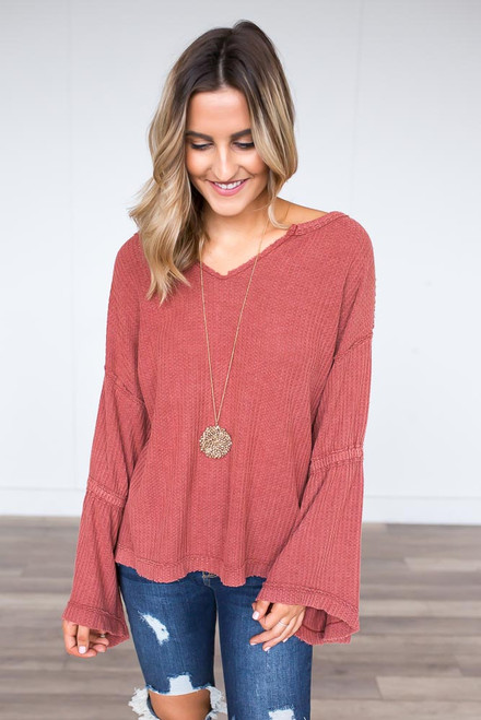 Waffle Knit Bell Sleeve Top - Arabesque Orange