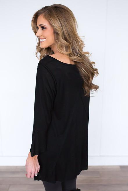 Peplum Sleeve Burnout Tunic - Black - FINAL SALE