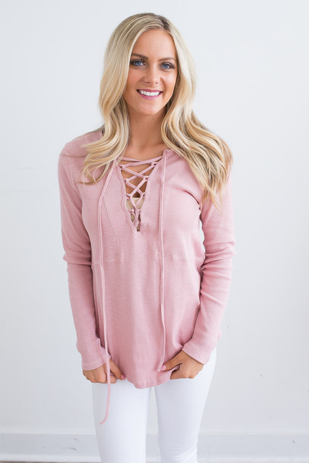 Lace Up Ribbed Knit Top - Dusty Rose - FINAL SALE