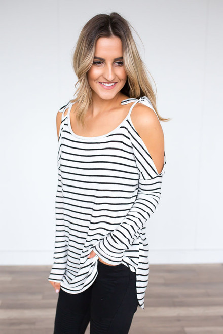 Striped Cold Shoulder Tie Tunic - Ivory/Black