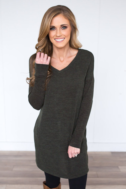 V-Neck Pocket Tunic - Heather Olive