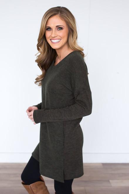 V-Neck Pocket Tunic - Heather Olive - FINAL SALE