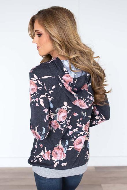 Floral Print Pocket Hoodie - Charcoal Multi