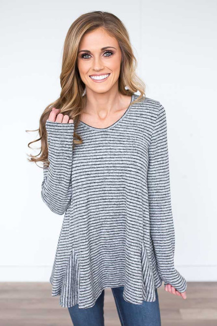 Soft Brushed Striped Flare Top - Heather Grey/Black - FINAL SALE