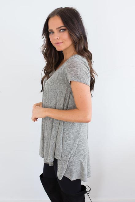 Short Sleeve Flare Tunic - Heather Sage