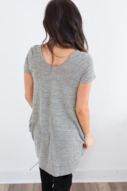 Short Sleeve Flare Tunic - Heather Sage - FINAL SALE