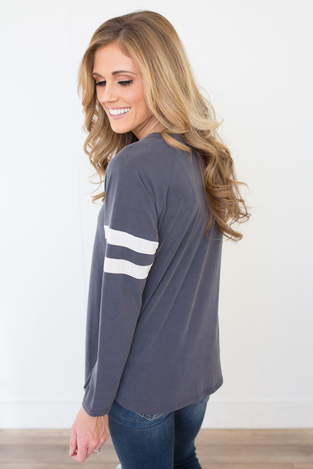 Friday Night Varsity Top - Charcoal/White - FINAL SALE