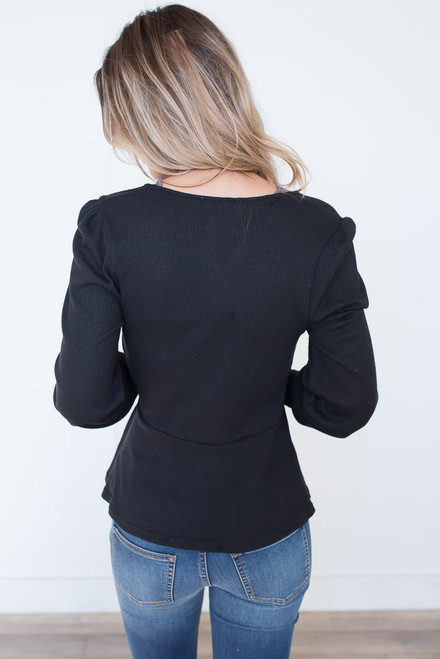 Long Sleeve Ribbed Wrap Top - Black - FINAL SALE