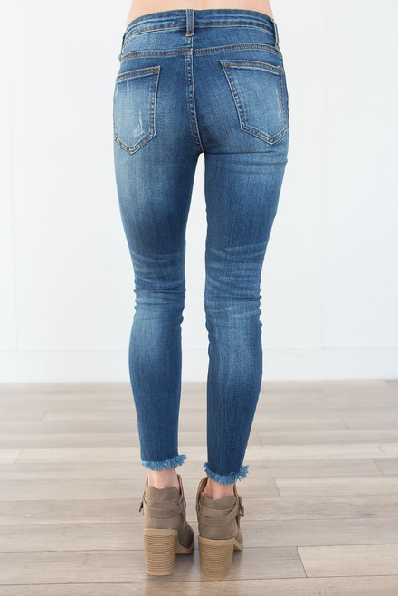 Frayed Ankle Faded Skinny Jeans - Dark Wash
