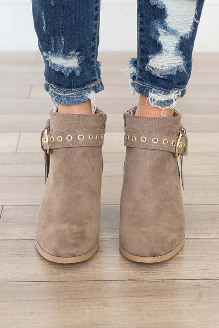 Eyelet Buckle Booties - Taupe - FINAL SALE
