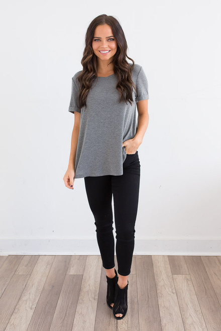 Relaxed Pocket Tee - Heather Grey - FINAL SALE