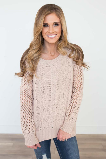 Open Knit Cable Sweater - Light Taupe