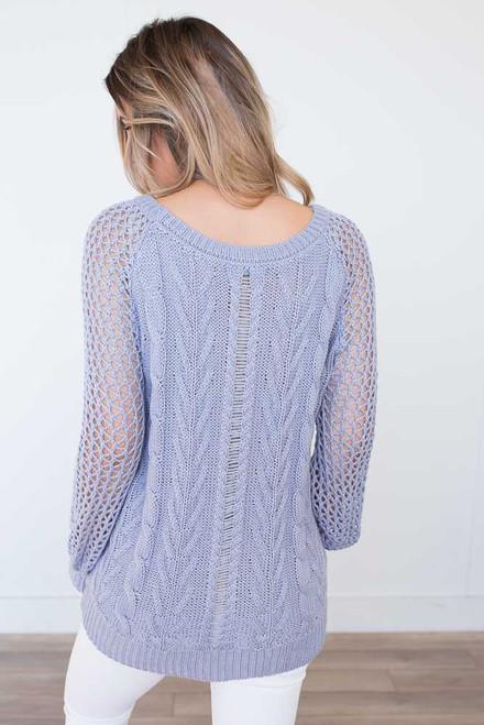 Open Knit Cable Sweater - Harbor Mist - FINAL SALE