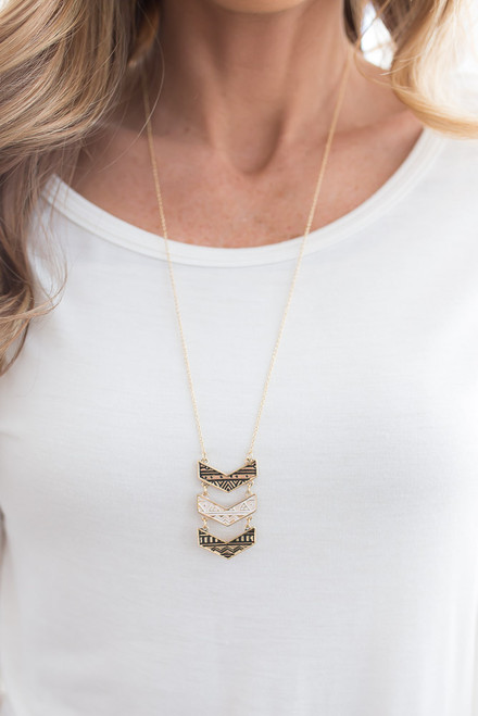 Engraved Chevron Necklace - Gold
