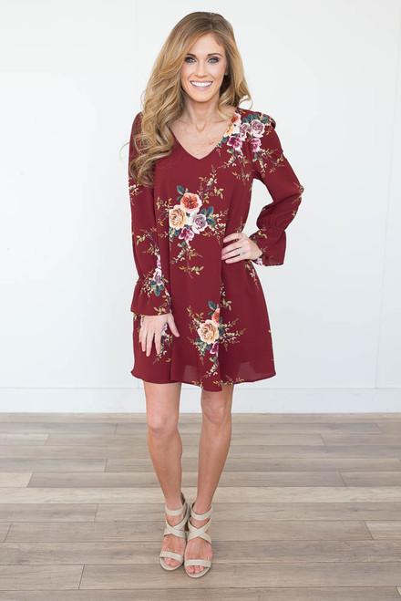 Rose Garden Keyhole Back Dress - Burgundy