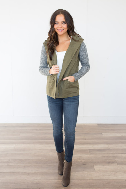 Sweatshirt Detail Hooded Cargo Jacket - Olive