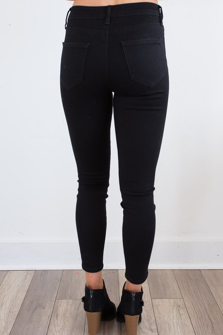 High Waisted Crop Skinny Jeans - Black