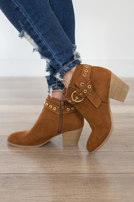 Eyelet Buckle Booties - Maple - FINAL SALE