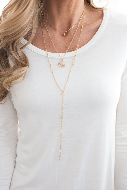 Layered Stone Lariat Necklace - Gold