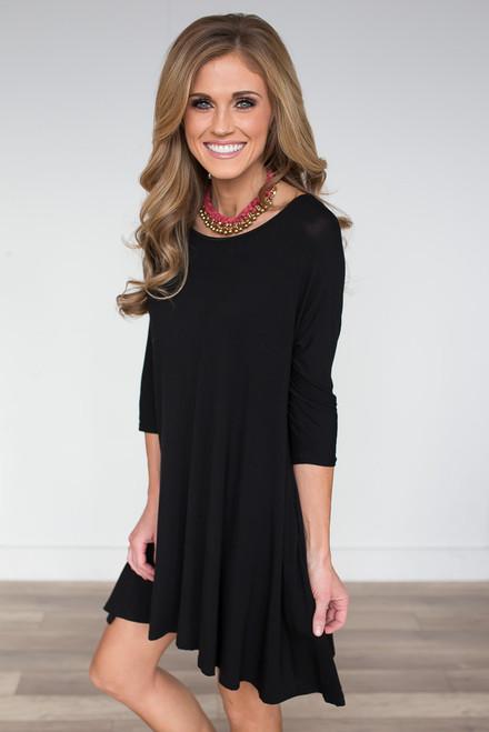 3/4 Sleeve Knit Pocket Dress - Black - FINAL SALE