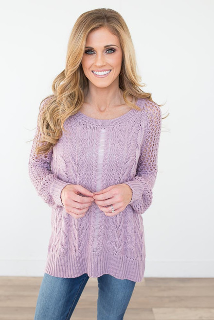 Open Knit Cable Sweater - Lavender - FINAL SALE