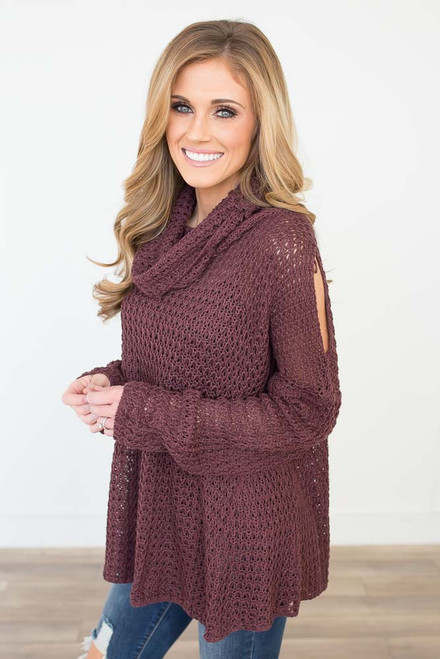 Cowl Neck Open Knit Sweater - Plum Wine