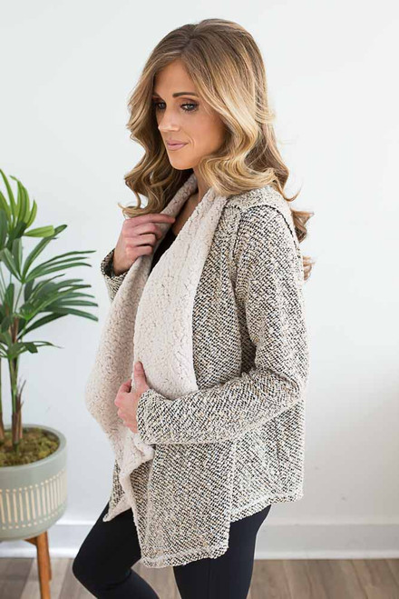 Sherpa Lined Tweed Cardigan - Taupe Multi