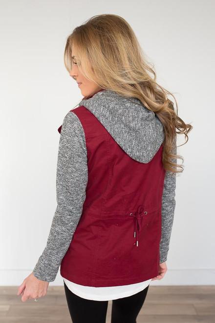 Sweatshirt Detail Hooded Cargo Jacket - Wine