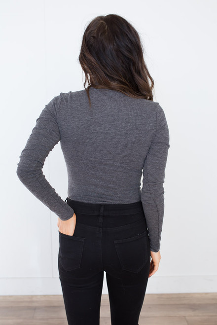 Long Sleeve Mock Neck Bodysuit - Charcoal - FINAL SALE