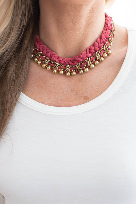 Braided Statement Necklace - Cranberry/Gold