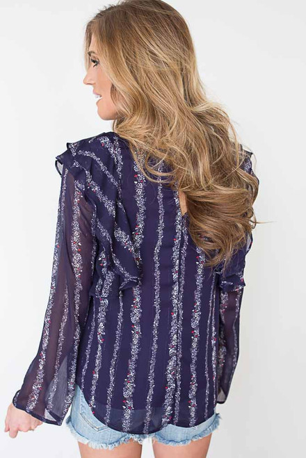 Printed Ruffle Shoulder Blouse - Dark Purple - FINAL SALE